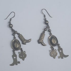 Cowgirl Hat Coyotes Spurs Sterling Silver Earrings